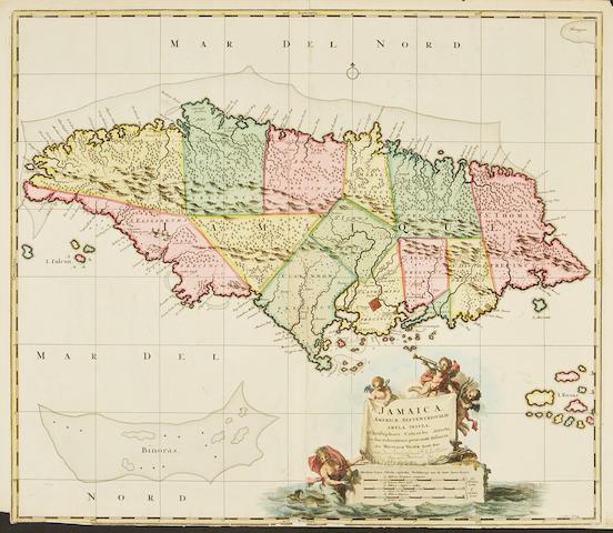 WEST INDIES. VISSCHER, NICHOLAUS. 1618-1679.  Jamaica Americae Septentrionalis Ampla Insula.... [Amsterdam: 1680.]