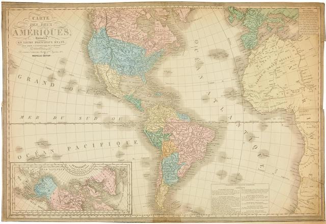 [HERRISON, EUSTACHE] Carte des deux Ameriques divisees en leurs principaux Etats pour servir a l'instruction Jeunesse Septentrionale et Meridionale. Paris: [c.1837].