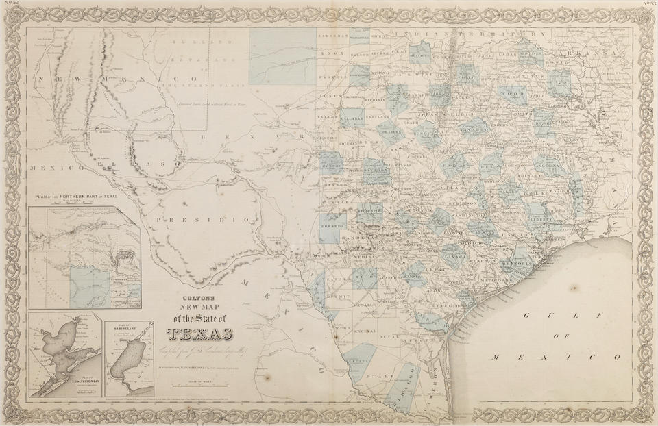 COLTON, JOSEPH B. 1800-1893. New Map of the State of Texas compiled from de Cordova's large map. New York: 1866.