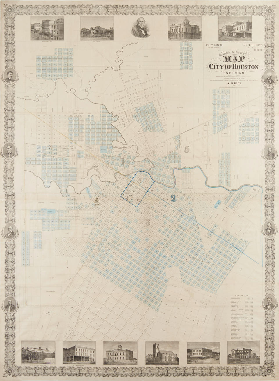 KOSSE, THEODORE, AND T. SCOTT. Map of the City of Houston and Environs... according to the latest Survey's compiled and drawn by Th. Kosse. Houston: 1867.