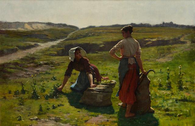 César Pattein (French, 1850-1931) A welcome break 22 1/2 x 33in (57.2 x 83.8cm)