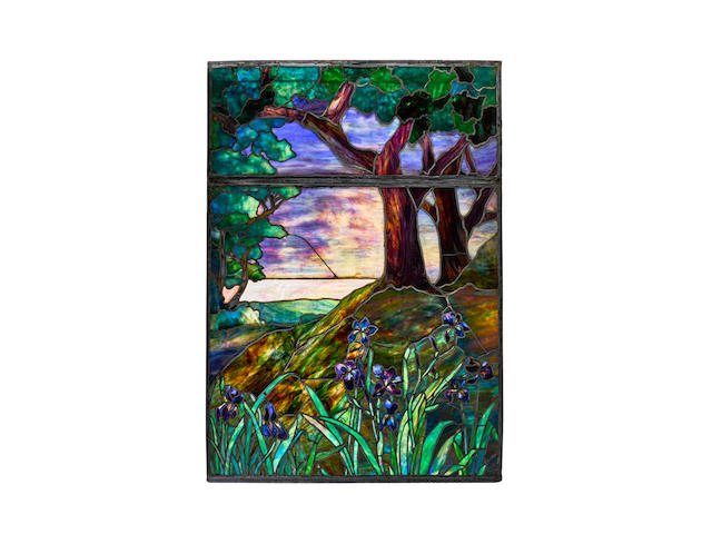 Tiffany Studios (1899-1930) Woodland Window1923for the First Presbyterian Church of Santa Monica, leaded glassheight 60in (152.4cm); width 42in (106.6cm); depth 1/2in (1.2cm)