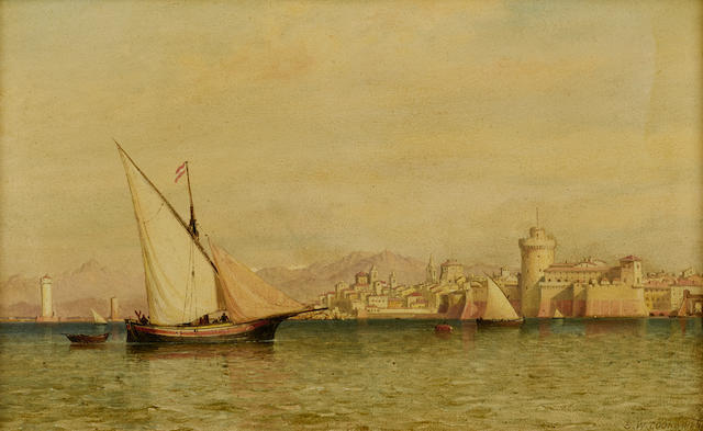 Edward William Cooke, RA (British, 1811-1880) Fishing boats in the port of Genoa 8 7/8 x 14 5/8in (22.5 x 37.1cm)