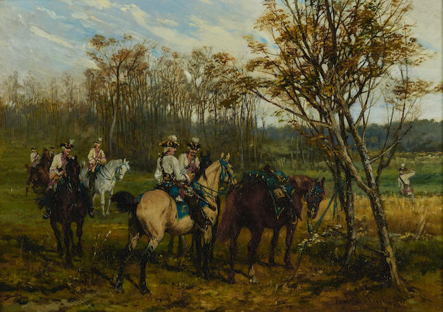 Jan van Chelminski (Polish, 1851-1925) The advance patrol 17 x 23 5/8in (43.2 x 60cm)