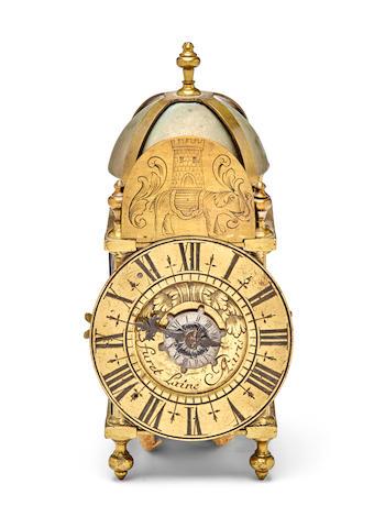 A French miniature lantern timepiece with alarmSigned Furet L'ainé A Paris Circa 1700