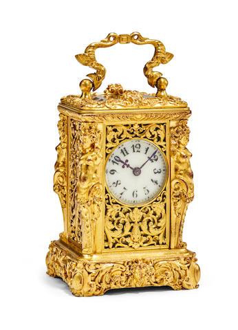 A fine gilt Renaissance revival miniature carriage timepieceLast quarter 19th century