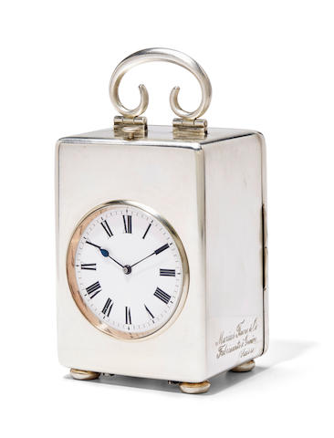 A fine Swiss silver montre pendulette de voyage with minute repeating and grande sonnerie striking and leather traveling caseSigned Marius Favre à Genève Circa 1930