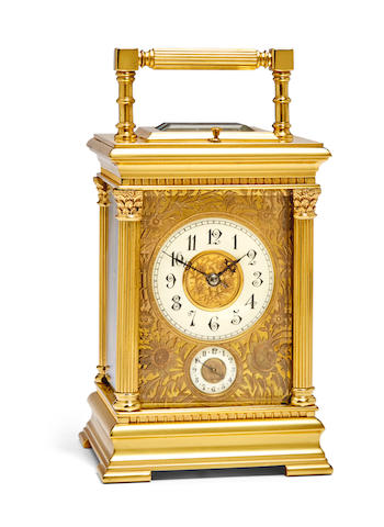 A fine gilt repeating carriage clock with alarmLast quarter 19th century