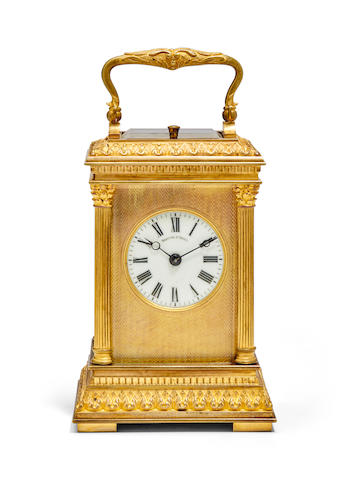 A gilt repeating carriage clockRetailed by Theodore B. Starr, New York Last quarter 19th century