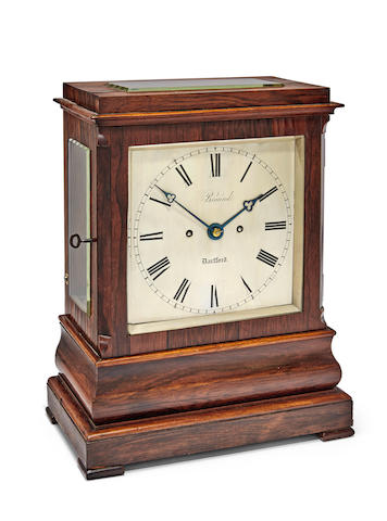 A rosewood striking table clockSigned on the dial, Braund, Dartford  second quarter 19th century