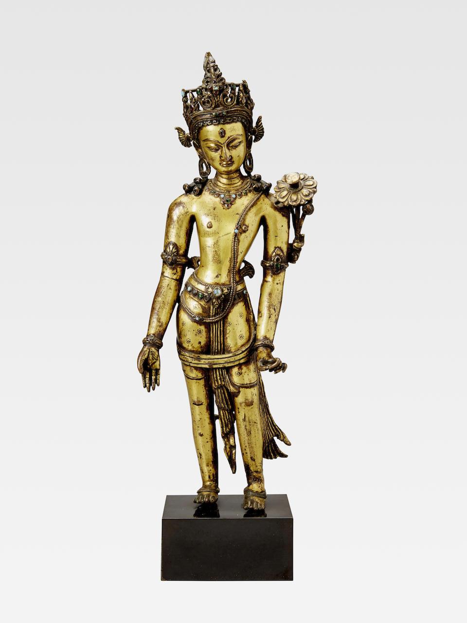 A GILT COPPER ALLOY FIGURE OF PADMAPANI LOKESHVARA NEPAL, 13TH/14TH CENTURY
