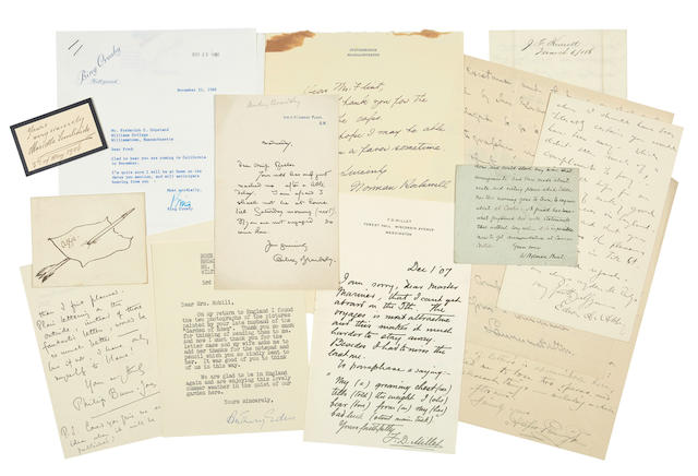 """ARTISTS AND ENTERTAINERS. Approximately 55 items: 1. ROCKWELL, NORMAN. Autograph Note Signed (""""Norman Rockwell""""),"""