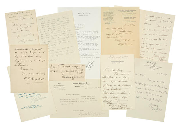 """CLERGYMEN AND EVANGELISTS. Approximately 33 items: 1. 5 Typed Letters Signed (""""Henry S. Coffin"""") to Mr. & Mrs George Huntington [Elizabeth W. Dodge],"""