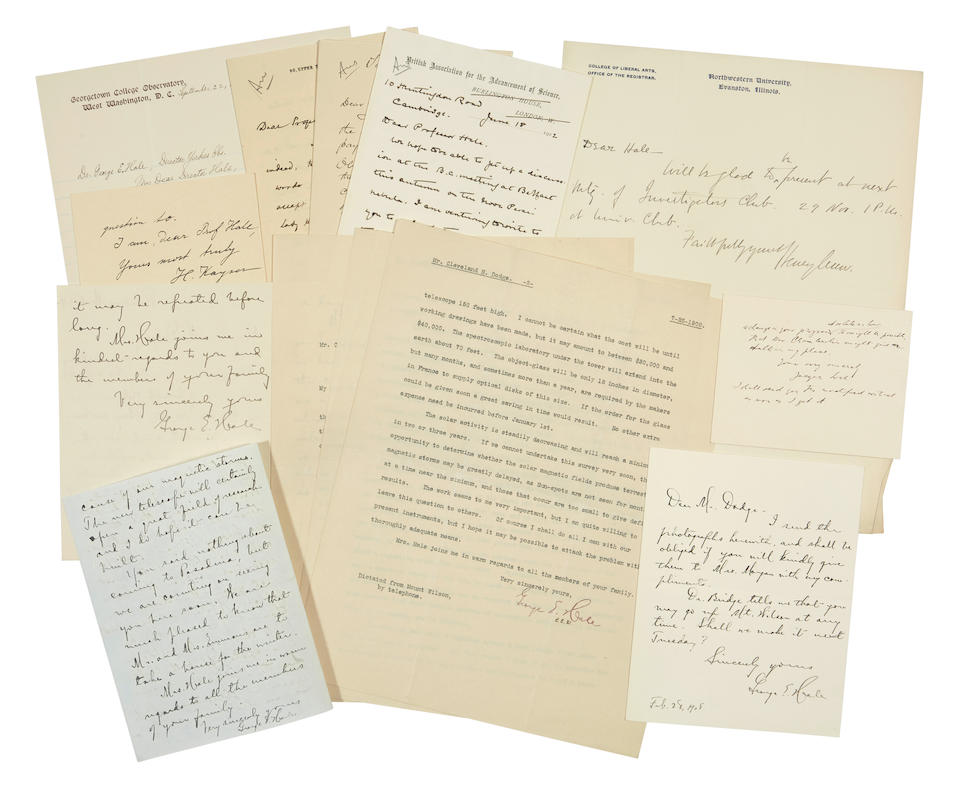 HALE, GEORGE ELLERY. 1868-1938. A small archive of correspondence of scientist George Hale: