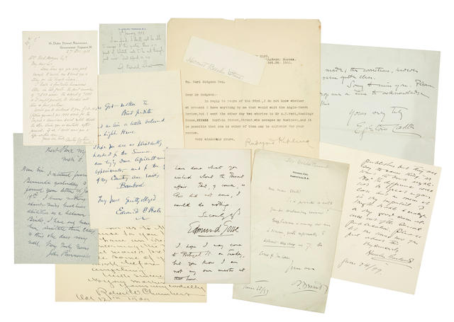 "BRITISH AND AMERICAN LITERATURE. Approximately 58 items: 1. KIPLING, RUDYARD. Typed Letter Signed (""Rudyard Kipling"") to Earl Hodgson regarding stories for the Anglo Saxon Review,"