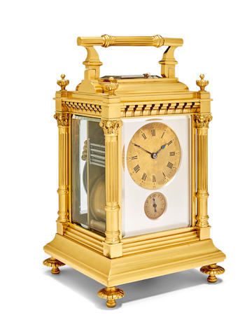 A fine and rare gilt giant quarter repeating carriage clock striking grande and petite sonnerie with Westminster quartersLast quarter 19th century