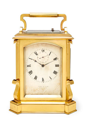 James Mc Cabe, Royal Exchange, London. A twin fusee carriage clock with subsidiary secondsMid 19th century
