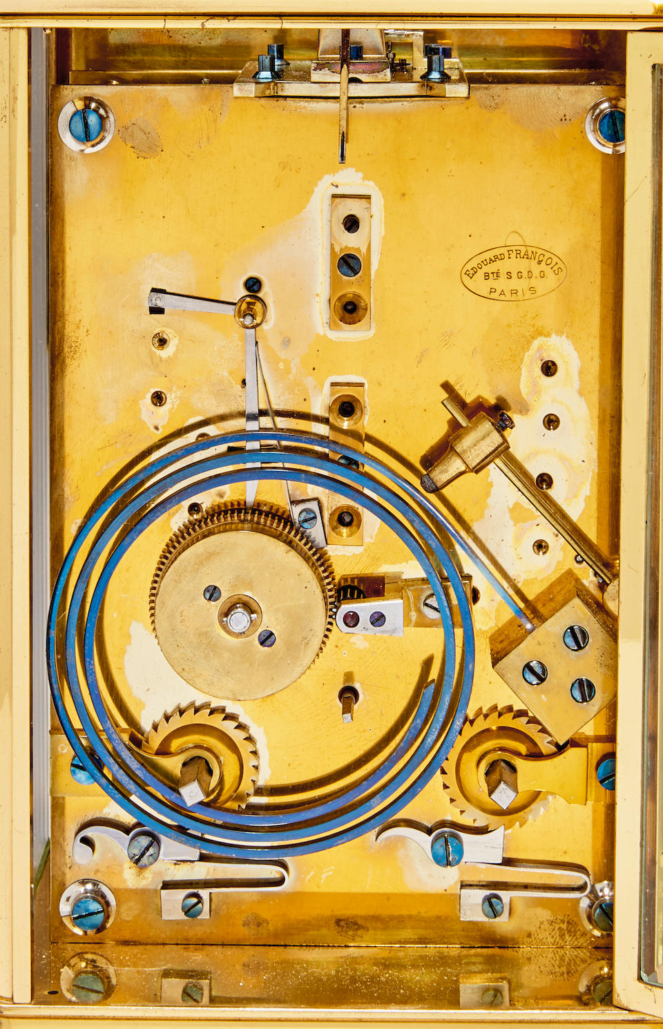 A fine and very rare giant chronometer carriage clock with patent remontoire, power reserve indication and running secondsSigned Edouard François, Paris, No. 3 Late 19th century