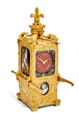 An unusual French gilt table clock in the form of a sedan chair set with signed Limoges enamel panels of Renaissance beautiesLast quarter 19th century