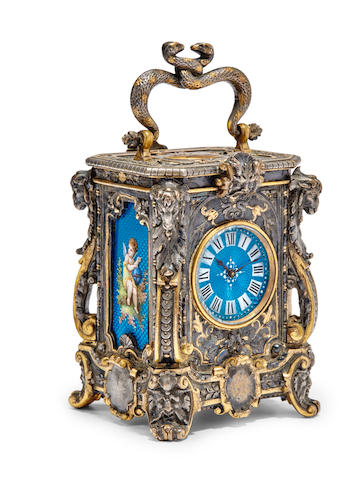 An unusual gilt and patinated miniature carriage timepiece with enamel panels1880's