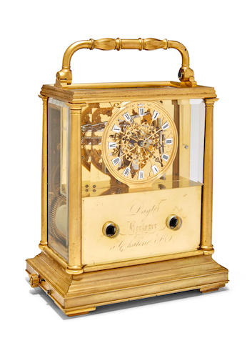 An unusual gilt carriage clock with skeletonized dial and musical movement Signed Dayt, Horloger à Chalon-sur-Saône Mid 19th century