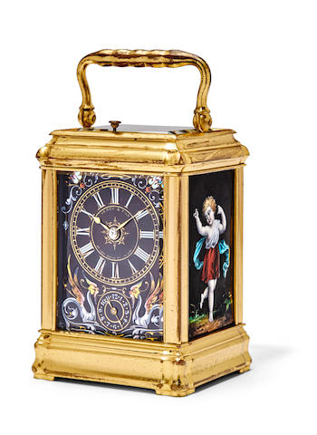 A very fine repeating miniature carriage clock with Limoges panelsRetailed by LeRoy & Fils, London Last quarter 19th century