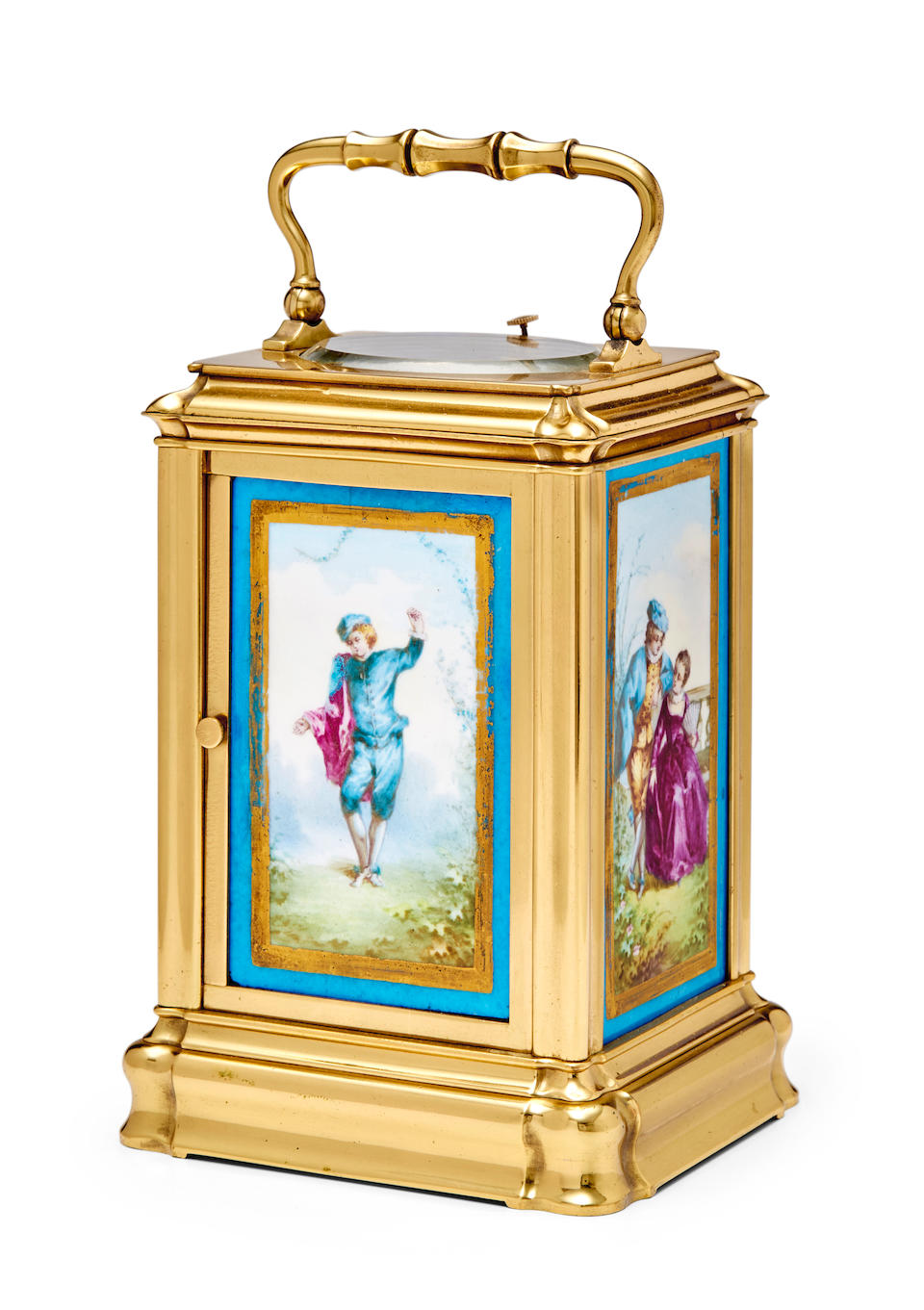 A rare gilt repeating carriage clock with four porcelain panelsLast quarter 19th century
