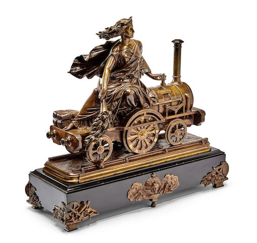 A finely modeled French bronze and black marble allegorical industrial clock portraying progress Last quarter 19th century