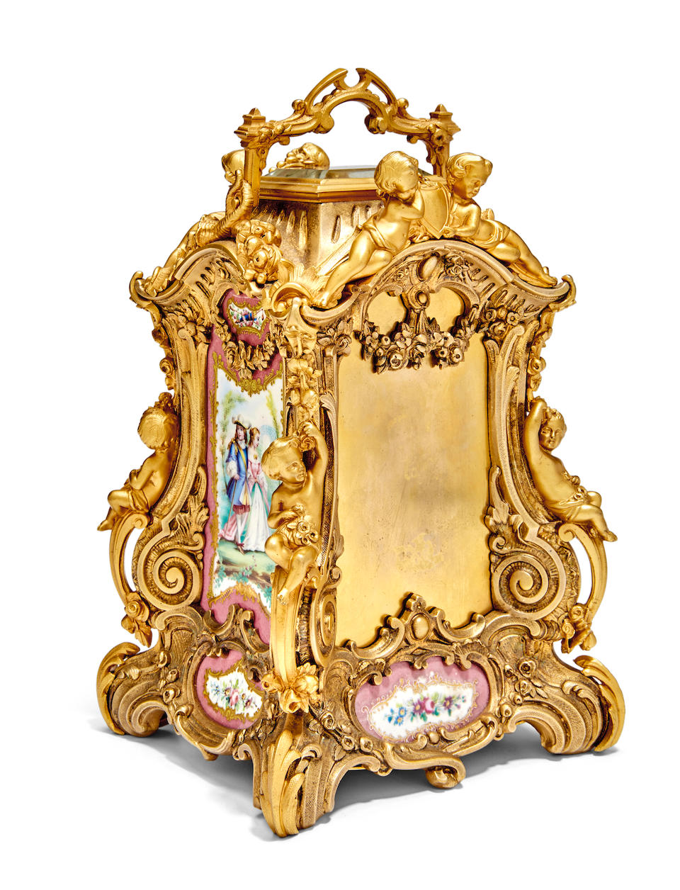 An elaborate rococo cast carriage clock with pink porcelain panelsLast quarter 19th century