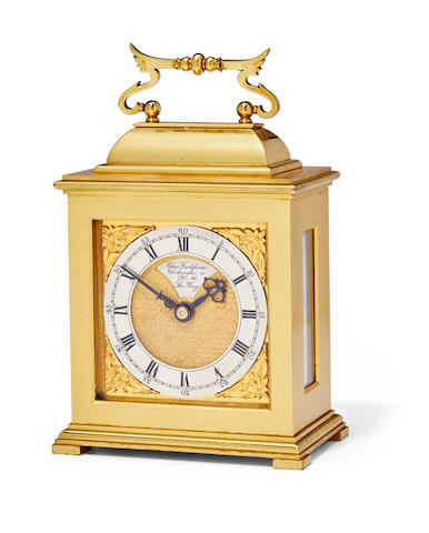 A Fine gilt timepiece in the form of a miniature bracket clockSigned Chas. Frodsham, Clockmaker to H. M. the King Mid 20th century