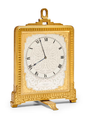 An engraved gilt brass striking strut clockThomas Cole, London, no. 1320 Mid 19th century