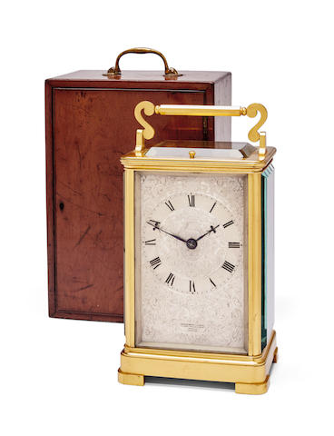 A fine gilt quarter striking and repeating giant carriage clock with mahogany carrying caseSigned, Upjohn, Bright & Wood, London Third quarter 19th century
