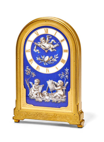A fine gilt brass strut clock with porcelain dialThomas Cole, London, no. 1412 Mid 19th century