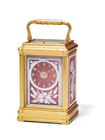 A fine gilt repeating carriage clock with cameo glass floral panelsLate 19th century