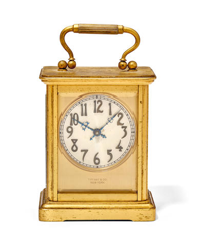 An American gilt carriage timepieceChelsea Clock Co., Boston, retailed by Tiffany & Co., New York 1920's
