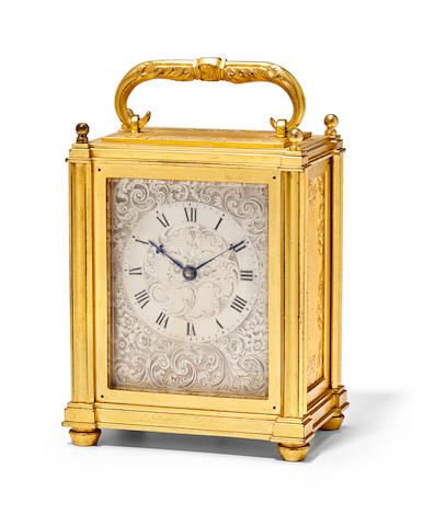 """A fine and rare engraved gilt miniature carriage timepieceSigned, """"Dent, Watch Maker to the Queen"""" Mid 19th century"""