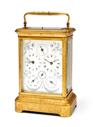 A rare and unusual engraved gilt dual time giant grand sonnerie striking carriage clock with calendar and subsidiary secondsMid 19th century