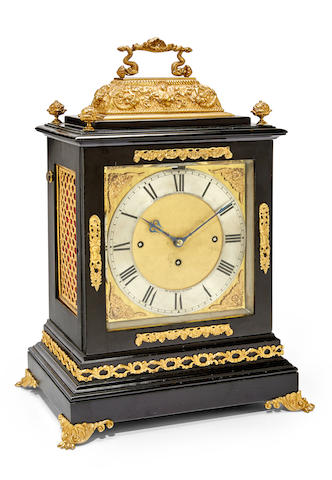 A good late 17th century style quarter chiming ebonized table clockChas Frodsham, 84 Strand, no. 1440 Late 19th century