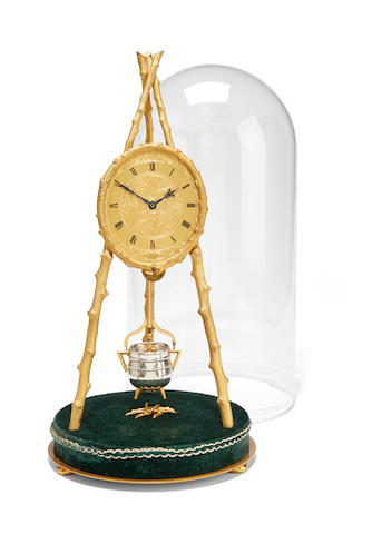 A fine and rare gilt rustic branch tripod timepiece with kettle pendulum and glass domeThomas Cole for E. White, 20 Cockspur St., London Circa 1860