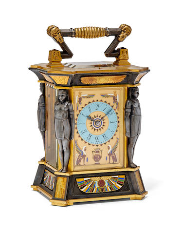 A remarkable patinated, gilt and cloisonné enamel Egyptian Revival repeating carriage clockLate 19th century