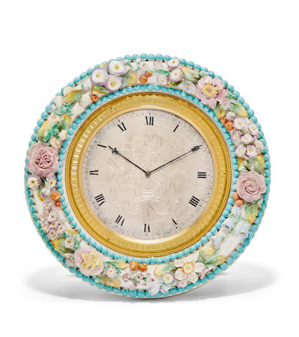 A circular strut timepiece in the form of a porcelain floral wreathThomas Cole, no. 1734 for W. Payne & Co., 163 New Bond Street, London, no 1567 Mid 19th century