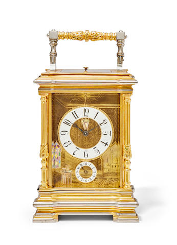 A fine gilt and silvered porcelain panel repeating carriage clock with alarmWith the trademark of Louis Fernier et Frère, Paris Last quarter 19th century