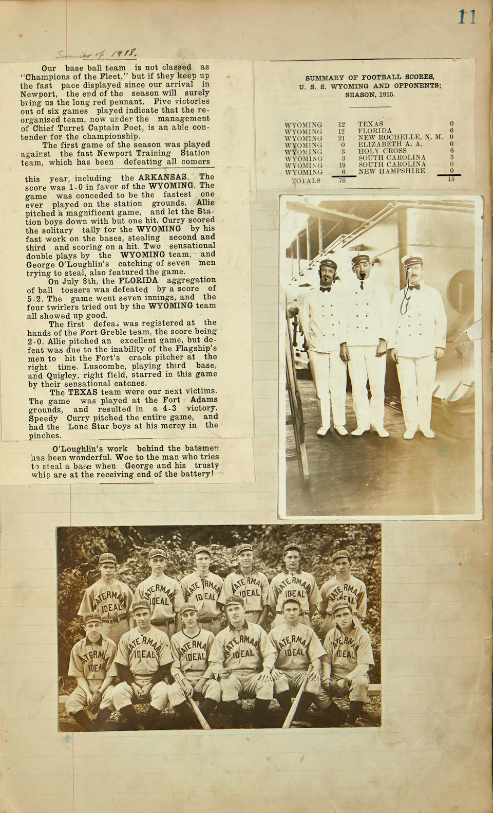 MEXICO: U.S. OCCUPATION OF VERA CRUZ. Scrapbook containing photographs, clippings and memorabilia of George Frederick O'Loughlin,