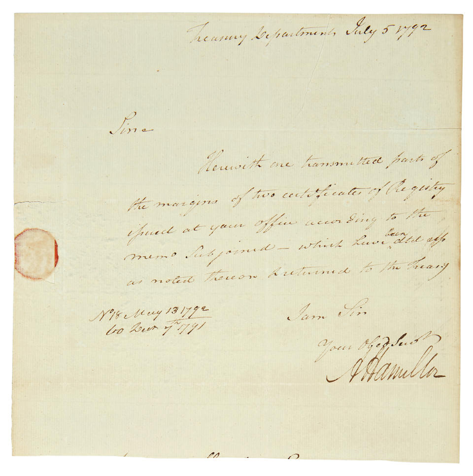 "HAMILTON, ALEXANDER. 1755-1804. Autograph Note Signed (""A. Hamilton""),"