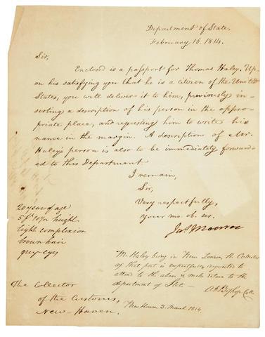 """MONROE, JAMES. 1758-1831. Autograph Letter Signed (""""Jas. Monroe""""),"""