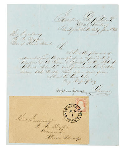 """MORMONISM. YOUNG, BRIGHAM. 1801-1877. Letter Signed (""""Brigham Young""""), to W. W. Hoppin, Governor of Rhode Island,"""