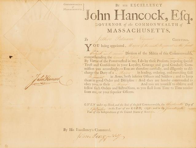 "HANCOCK, JOHN. 1737-1793. Document Signed (""John Hancock""),"