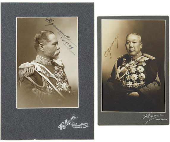 JAPANESE MILITARY. Two signed photographs: 1. Carte-de-visite of Admiral Isoroku Yamamoto,