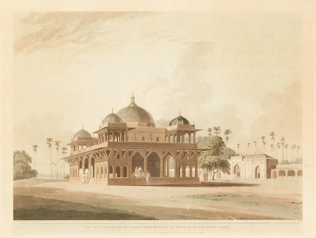 DANIELL, WILLIAM. 1767-1837; AND THOMAS DANIELL. 1749-1840. 12 hand-colored plates from Oriental Scenery, or the Views of the Architecture, Antiquities and Landscape Scenery of Hindostan. London: Thomas Daniell, 1795-1808.