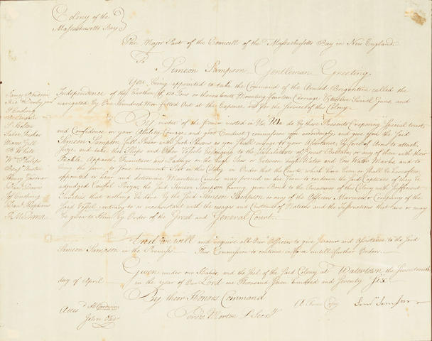 "EARLY AMERICAN NAVAL COMMISSION. SAMSON, SIMEON. 1736-1789. Manuscript document signed (""Simeon Samson,"" ""H. Goodwin,"" ""John Otis,"" ""Perez Morton""), appointing Simeon Samson to take command of the Armed Brigantine Independence,"